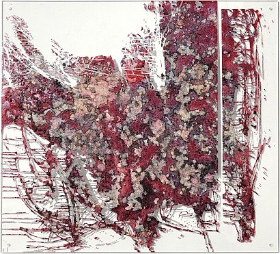 raspberries, silver and TIME on plexiglas